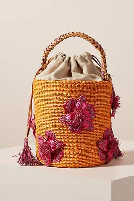 Aranaz Lulu Flower-Embellished Bucket Bag