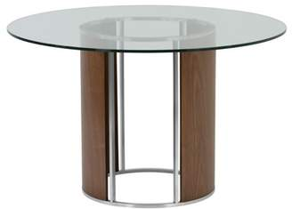 clear Armen Living Delano Round Dining Table in Brushed Stainless Steel with Tempered Glass Top and Walnut Column