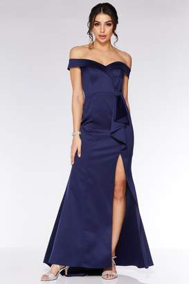 Quiz Royal Blue Satin Bardot Bow Detail Maxi Dress