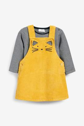 Next Girls Ochre Cat Cord Pinafore Dress And Bodysuit Set (0mths-2yrs) - Yellow