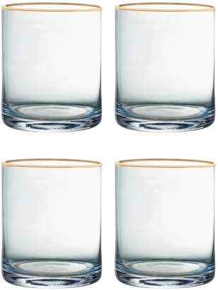 Jay Import Blue/Gold Vivienne Old Fashioned Glass - Set of 4