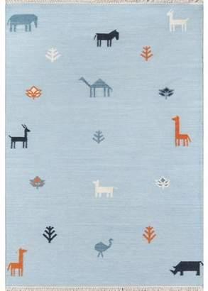 Momeni Erin Gates by Thompson Porter Blue Hand Woven Wool Area Rug 2' X 3'