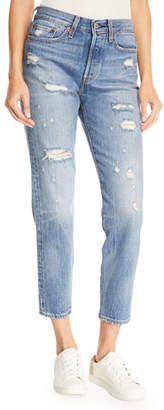 Levi's Premium Partner In Crime Wedgie-Icon Fit High-Waist Distressed Tapered-Leg Jeans