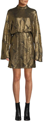 Sally Lapointe Mock-Neck Long-Sleeve Stitched-Sequins Mini Dress