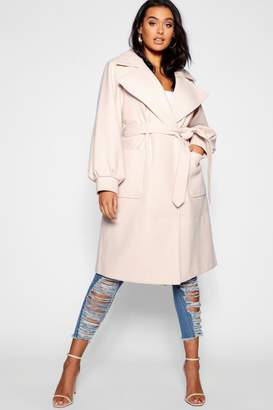 boohoo Plus Belted Wool Look Mac