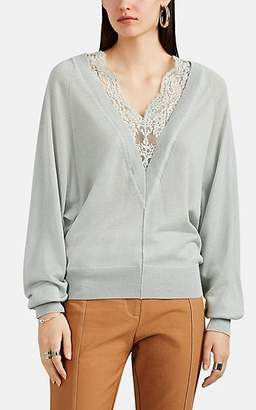 Chloé Women's Lace-Inset Wool-Silk V-Neck Sweater - Sage