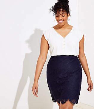 42fc3670d5 LOFT Plus Scalloped Lace Pencil Skirt