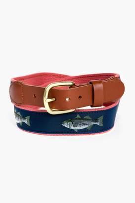 Gents Leather Man LTD. Striper Tab & Buckle Motif Belt