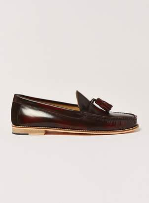 Topman Burgundy Leather Tassel Loafers
