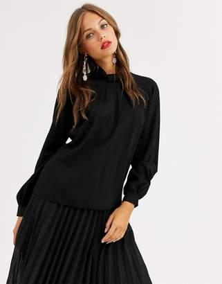 Closet London collared balloon sleeve satin blouse in black