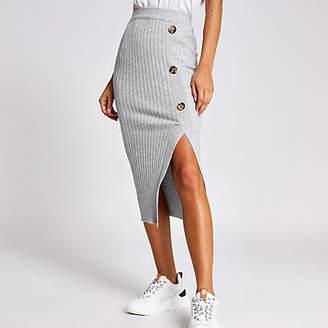 River Island Light grey knitted midi skirt