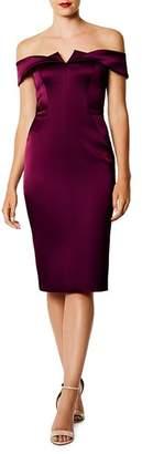 Karen Millen Off-the-Shoulder Satin Dress