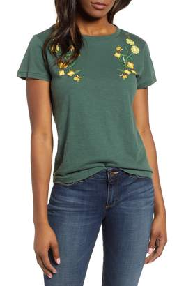 Lucky Brand Floral Embroidered Cotton Tee