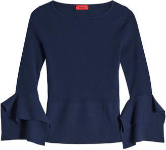 HUGO Knit Pullover with Flared Sleeves