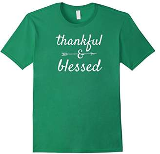 Women's Thankful & Blessed Thanksgiving T Shirt