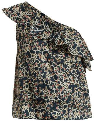 Etoile Isabel Marant Thom Abstract Print One Shoulder Linen Top - Womens - Black Print