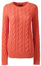 Lands' End Women's Plus Size Drifter Cotton Sweater-Sweet Persimmon $69 thestylecure.com