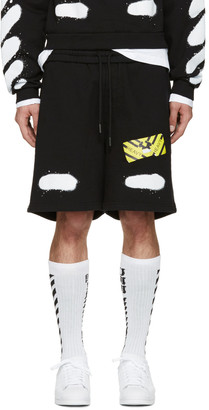 Off-White Black Spray Brushed Diagonals Shorts $330 thestylecure.com