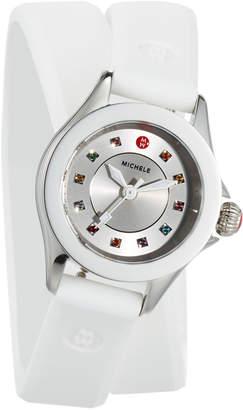 Michele 27mm Cape Mini Topaz Watch w/ Double-Wrap Silicone Strap, White