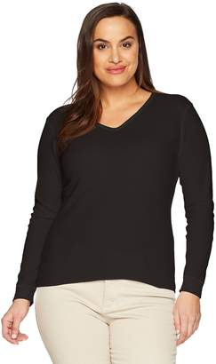Fruit of the Loom Women's Plus Size Fit Me Thermal Waffle V-Neck Top