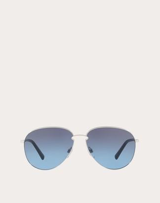 Valentino Aviator Frame Metal Sunglasses Man Blue Metal 100% OneSize