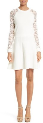 Women's Alice + Olivia Blake Lace Sleeve Sweater Dress $385 thestylecure.com