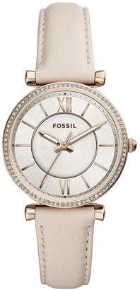 Fossil Women Carlie Winter White Leather Strap Watch 35mm