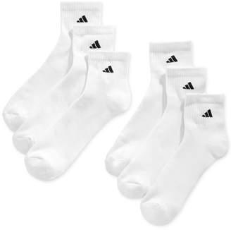adidas Men Cushioned Quarter Extended Size Socks, 6-Pack