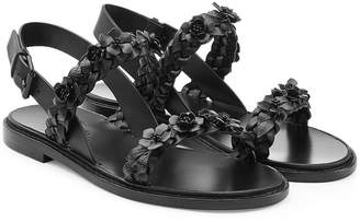 Valentino Flower Embellished Leather Sandals