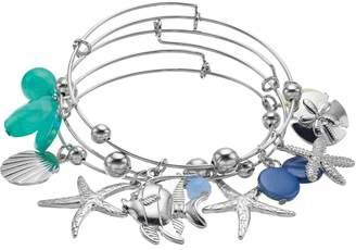 Starfish & Shell Charm Bangle Bracelet