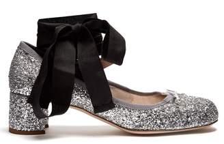 MIU MIU Glitter block-heel ballet pumps $650 thestylecure.com