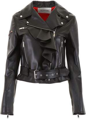 Valentino Leather Jacket With Embroidery