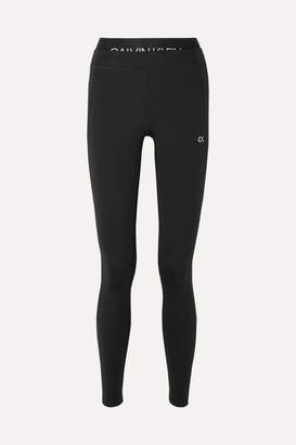 Calvin Klein Cropped Printed Stretch Leggings - Black