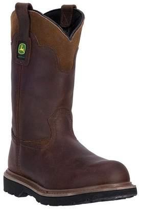 """John Deere Western Boots Mens 11"""" Deep Dip St EH Pull 7 W Brown JD4394"""