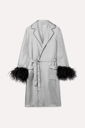 Prada Feather-embellished Silk-twill Robe - Gray