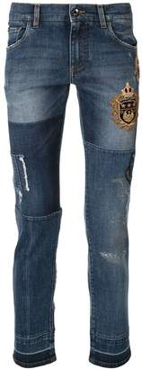 Dolce & Gabbana patchwork skinny-fit jeans