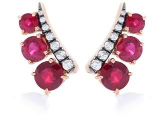 Jemma Wynne Rose gold diamond and sapphire earrings