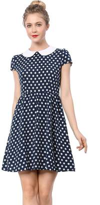 Allegra K Women's Peter Pan Collar Above Knee Contrast Polka Dot Dress L