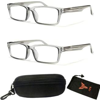 bc5d5468a0 clear CPS 2 Pairs Transparent Gray Rectangular Fashion Casual Retro Silver  Trim Reading Glasses (Strength