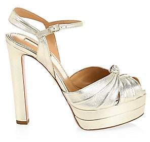 Aquazzura Women's Evita Metallic Leather Platform Sandals