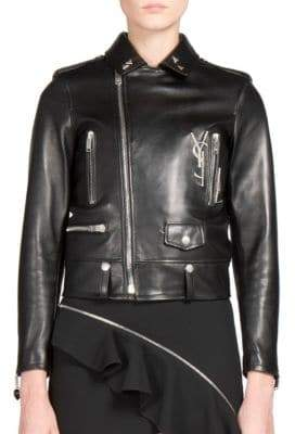 Saint Laurent Embellished Leather Moto Jacket