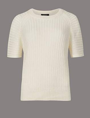 Marks and Spencer Pure Linen Textured Short Sleeve Jumper