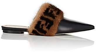 Fendi Women's Fur-Trimmed Leather Mules - Black