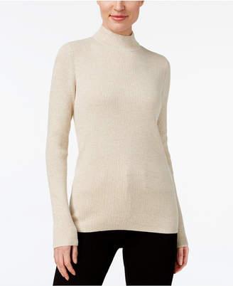 Karen Scott Petite Cotton Ribbed Mock-Neck Sweater