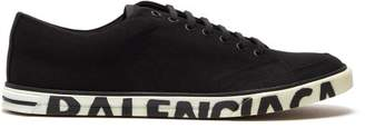 Balenciaga Logo Canvas Low Top Trainers - Mens - Black