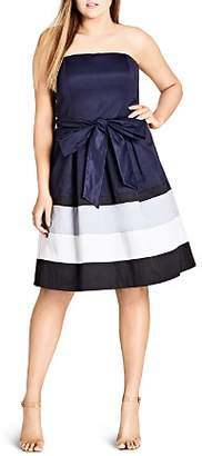 City Chic Plus Fit-and-Flare Block Stripe Dress