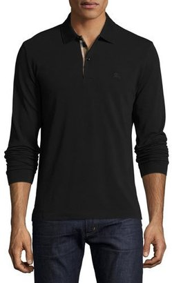 Burberry Long-Sleeve Oxford Polo Shirt, Black $195 thestylecure.com