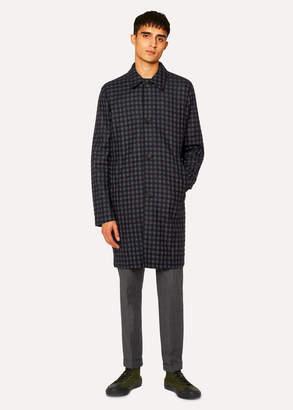 Paul Smith Men's Navy Check Wool-Blend Unlined Mac