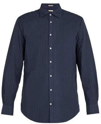 Massimo Alba Striped Cotton Blend Shirt - Mens - Navy