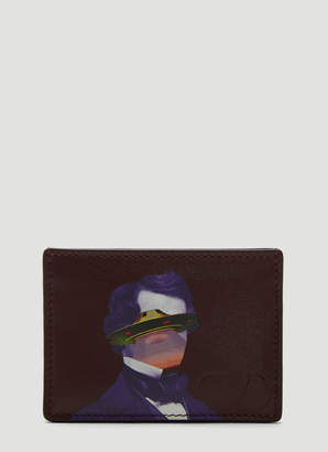 Valentino X Undercover Leather Card Holder in Purple